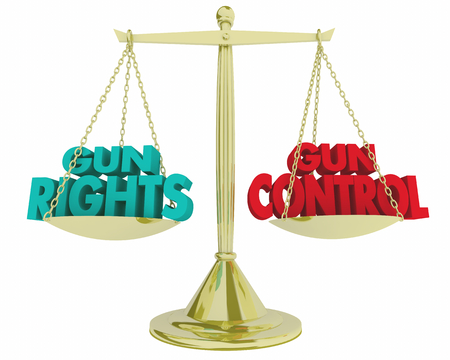 Gun Rights Vs Control Scale Weighing Legal Laws 3d Illustration Stock Photo
