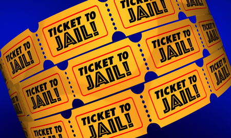 Ticket to Jail Criminal Activity Crime Suspect Caught 3d Illustration Фото со стока