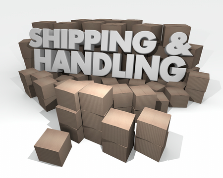 Shipping and Handling Cardboard Boxes 3d Illustration Foto de archivo - 96166272