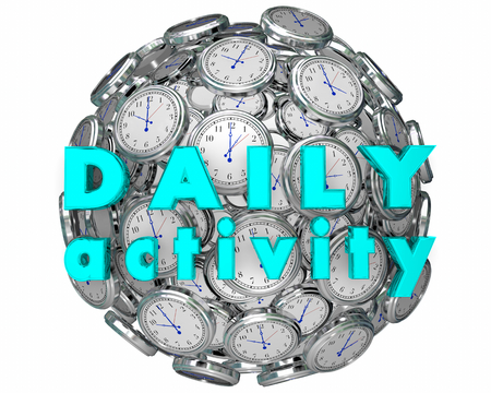 Daily Activity Clocks Time for Routines 3d Illustration 版權商用圖片