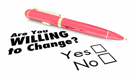 Are You Willing to Change Adapt Question Pen Check Boxes 3d Illustration