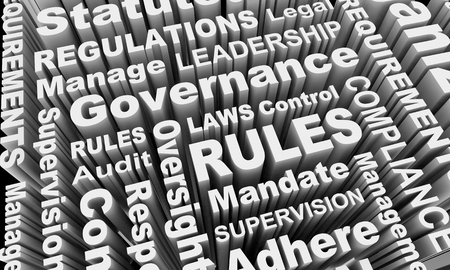 Rules Compliance Governance Regulations Laws Word Collage 3d Illustration Stock Photo