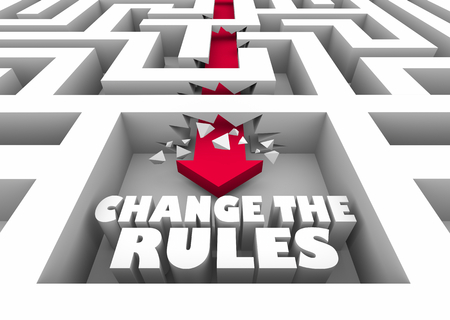 Change the Rules Break Through Maze Arrow 3d Illustration Stockfoto - 96252119