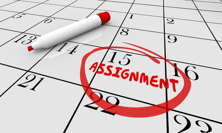 Assignment Calendar Project Task Due Date Circled 3d Illustration Stock Illustration - 96347779
