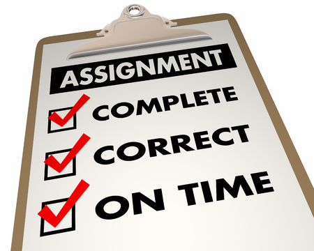 Assignment Checklist Complete Correct On Time 3d Illustration Stok Fotoğraf