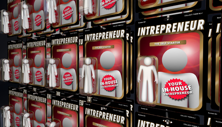 Intrepreneur In-House Self Starter Business Action Figures 3d Illustration