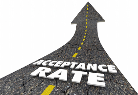 Acceptance Rate Arrow Up Road Words 3d Illustration Stock Photo
