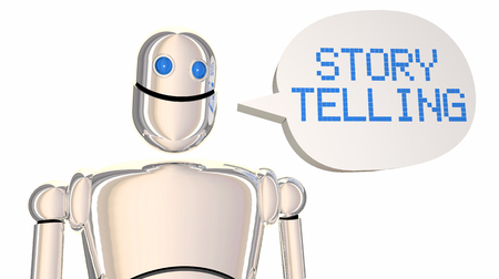 Storytelling Robot Speech Bubble Tell Stories 3d Illustration Stock Photo