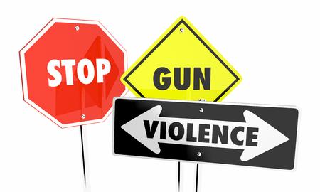 Stop Gun Violence Attacks Shootings Control Signs 3d Illustration 版權商用圖片