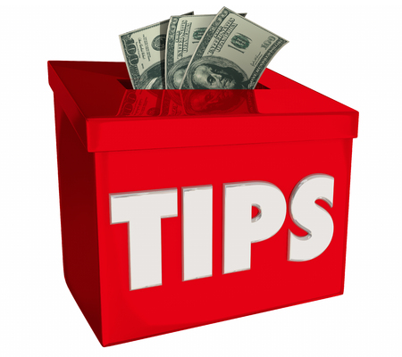 Tips Gratuity Box Collecting Money Bonus Benefit 3d Illustration
