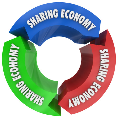 Sharing Economy Cycle Share Resources 3d Illustration Imagens