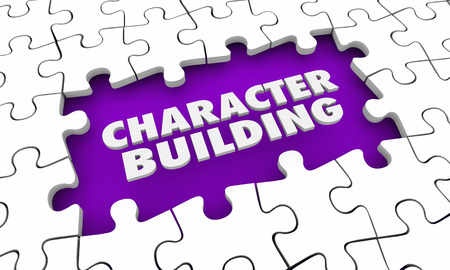 Character Building Puzzle Piece Hole 3d Illustration Stock Photo