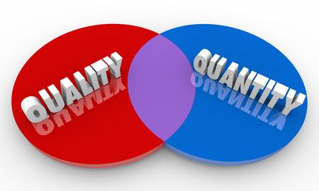 Quality Vs Quantity Compare Best Options Venn Diagram 3d Illustration