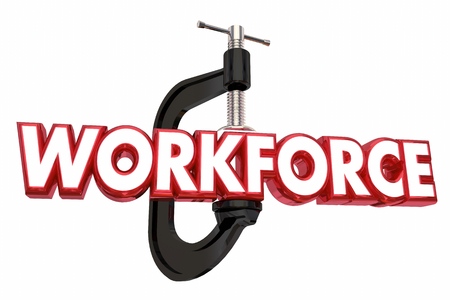 Workforce Vice Clamp Squeezed Resources Word 3d Illustration Stock Photo