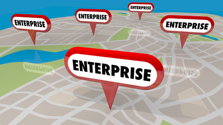 Enterprise Business Signs Pins Map Locations 3d Illustration