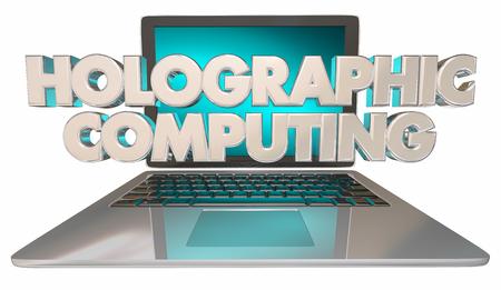 Holographic Computing Technology Hologram New Laptop 3d Illustration