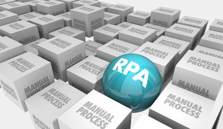 RPA Robotic Process Automation Reduzieren manueller Aufgaben 3D-Illustration