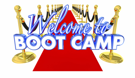 Welcome to Boot Camp Red Carpet Training Exercise 3d Illustration Stock Photo