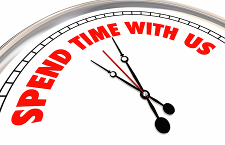 Spend Time With Us Clock Join Group 3d Illustration Stock Photo