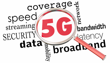 5G Network Coverage Magnifying Glass 3d Illustration Stockfoto - 96654014