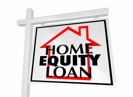 Home Equity Loan Real Estate Property Sale Sign 3d Illustration