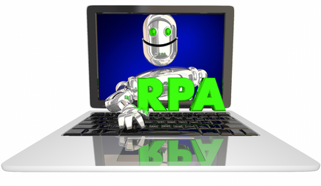 RPA Robotic Process Automation Laptop Computer 3d Illustration