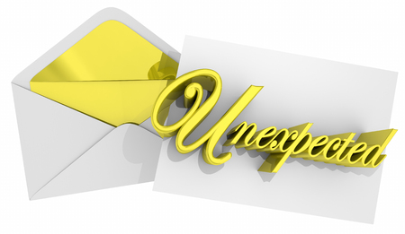 Unexpected Envelope Surprising Message Note 3d Illustration Reklamní fotografie