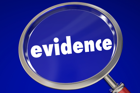 Evidence Proof Magnifying Glass Looking for Clues 3d Illustration