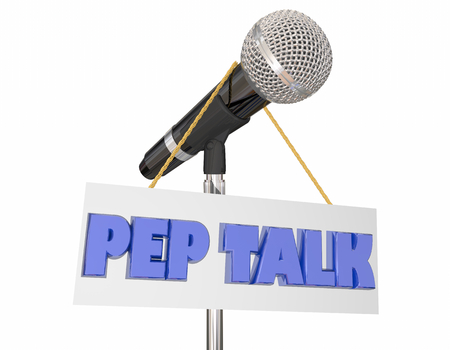 Pep Talk Assembly Microphone Stand Words 3d Illustration