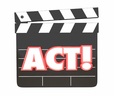 Act Movie Film Clapper Board Directing Scene Performance 3d Illustration