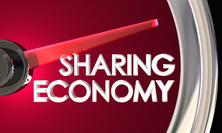 Sharing Economy Speedometer New Transaction Model 3d Illustration Reklamní fotografie