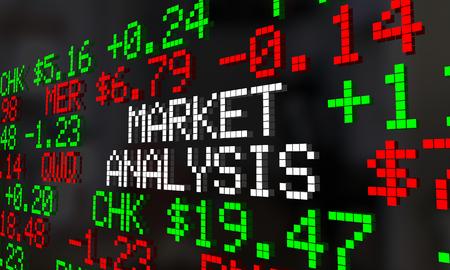 Market Analysis Stock Ticker Words Investment 3d Illustration