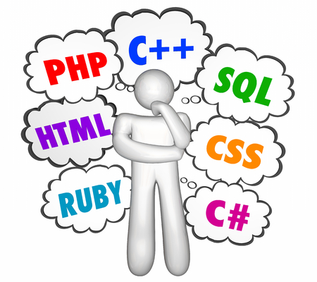Programming Languages Thought Clouds PHP HTML CSS C 3d Illustration