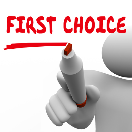 First Choice Best Top Pick Marker Person Writing Words 3d Illustration Stock Photo