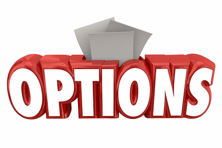 Options Word Slot Collection Box Choices Information 3d Illustration