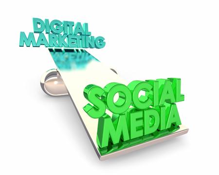 Social Media Vs Digital Marketing Balance See Saw Words 3d Illustration