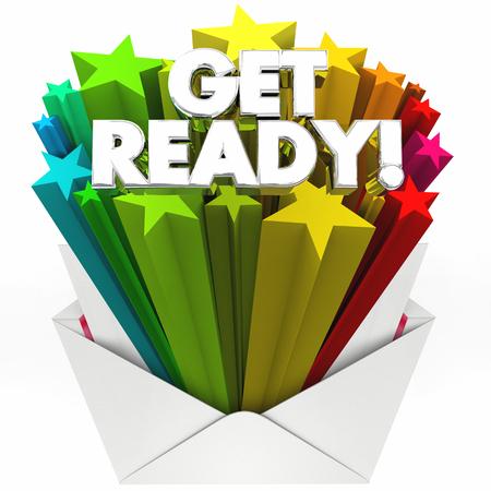 Get Ready Envelope Prepare Yourself Reminder3d Illustration Stock Photo