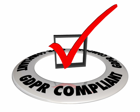 GDPR Compliant Privacy Security Personal Data Check Mark 3d Illustration Stock fotó
