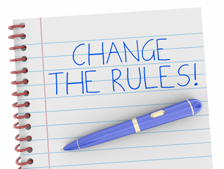Change the Rules Notebook Pen Writing Words 3d Illustration