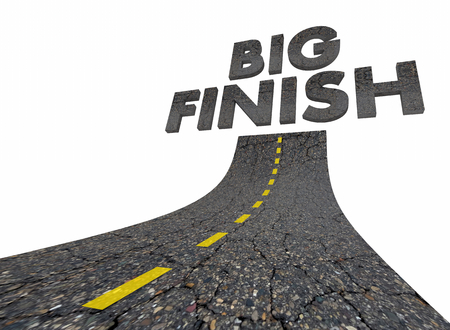 Big Finish Words Road Great Ending 3d Illustration Imagens