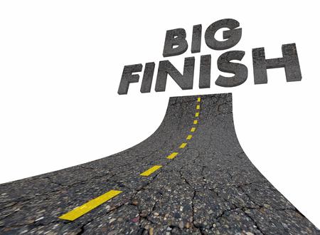 Big Finish Words Road Great Ending 3d Illustration Banque d'images