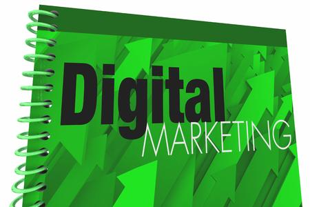 Digital Marketing Book Cover Social Media 3d Illustration Stock Illustration - 96792221