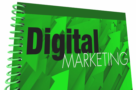 Digital Marketing Book Cover Social Media 3d Illustration