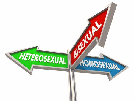 Heterosexual Homosexual Bisexual 3 Way Road Signs 3d Illustration Stockfoto