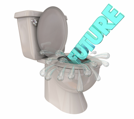 Future Word Flushing Down Toilet Wasted Dreams Gone 3d Illustration Banque d'images