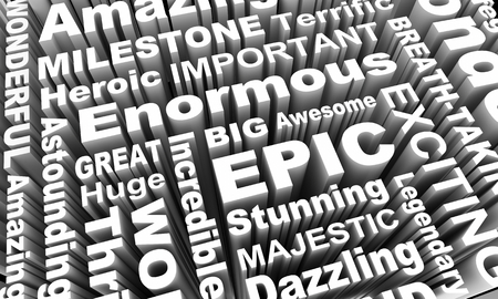 Epic Huge Legendary Word Collage 3d Illustration Stockfoto