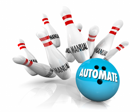 Automate Manual Tasks Bowing Ball Strike 3d Illustration Stok Fotoğraf