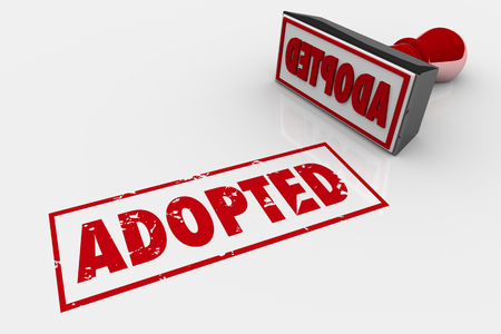 Adopted Accepted Adoption Stamp 3d Illustration