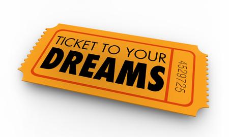 Il biglietto ai vostri sogni augura l'illustrazione 3d di speranze