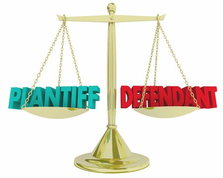Plaintiff Vs Defendant Scale Justice Court Case Law Legal 3d Illustration Stok Fotoğraf - 97161573